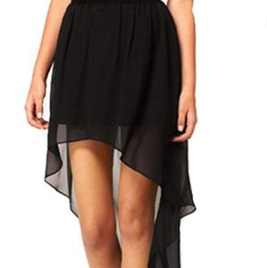 Black Sheer High-Low Skirt